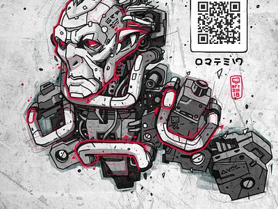 Mecha Goblin cyberpunk robot creatures digitalart character illustration drawing