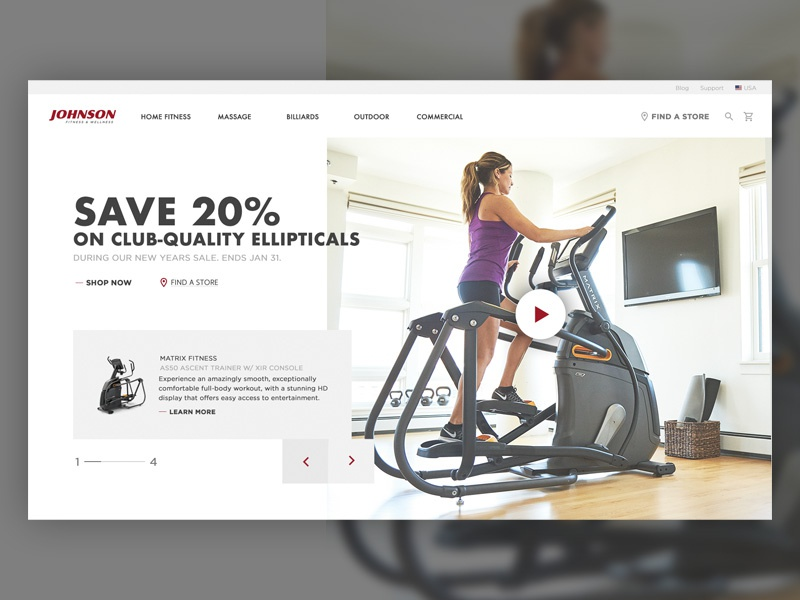 JFW Ecommerce Homepage fitness above the fold ux  ui ecommerce homepage design