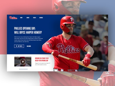Philadephia Phillies - MLB Opening Day above the fold mlb phillies phila philadelphia ui  ux design ux  ui design abovethefold ui homepage webdesign