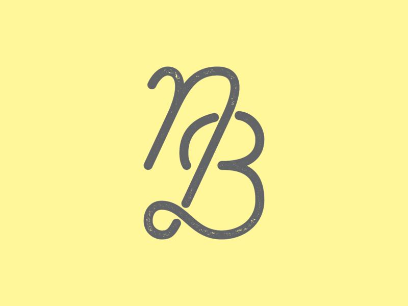 NB Monoline Monogram nonbinary enby b n bespoke modern script vector icon hand lettering minimal lettering logo typography monogram monoline nb