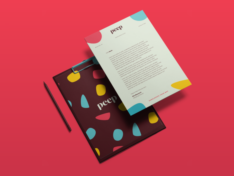 Peep Corporate Identity social media business card letterhead pattern logotype logo design design summer vibes vector briefbox identity logo typography branding