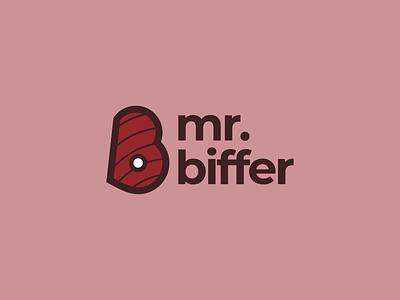 Mr. Biffer (2/3) casual market process visual identity brand identity branding icon persona market persona lockup twitch streamer meat playful fun logo vector design minimal typography