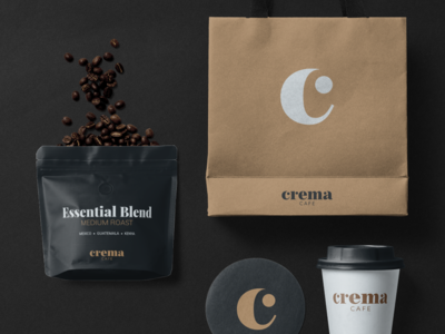 Crema Cafe Product Mockup identity coffee typography minimal logotype branding product packaging mockup cafe