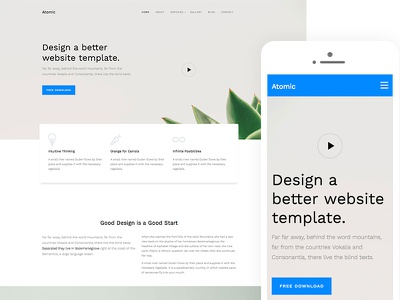 Atomic Free HTML5 Website Template html5 html template ux ui design website