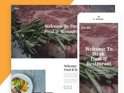 Steak Free Website Template For Restaurant HTML html5 html template ux ui design website restaurant