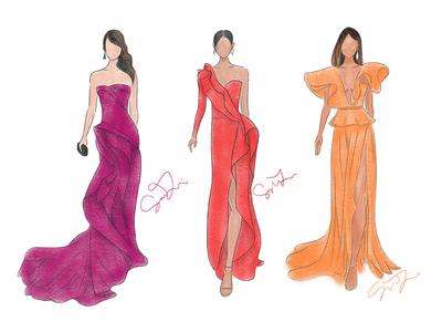 Red Carpet — Fashion Figures red carpet fashion fashion illustration illustration procreate digital illustration