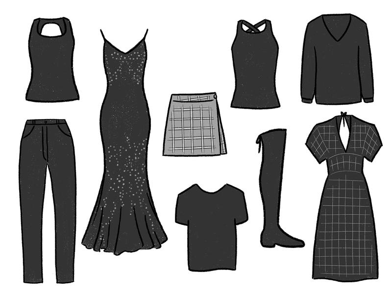 Blacks of Winter — Wardrobe 2020 closet wardrobe digital illustration drawing procreate fashion illustration fashion clothing illustration