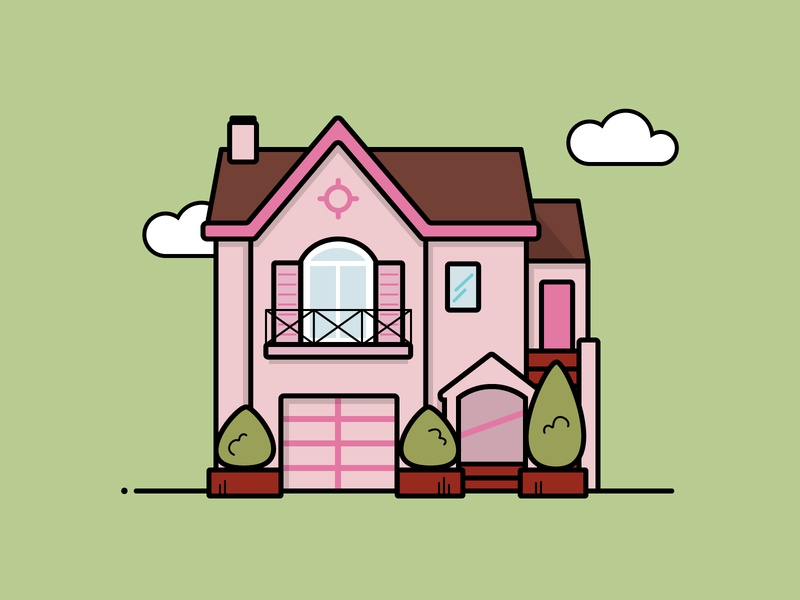 Pink House — Home Series san francisco architecture home house illustration