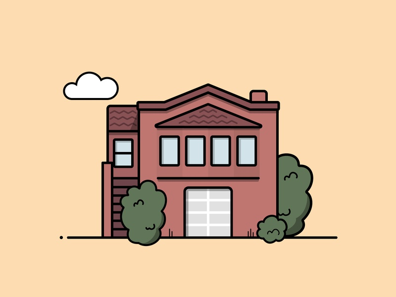 Maroon House — Home Series san francisco illustration house home architecture