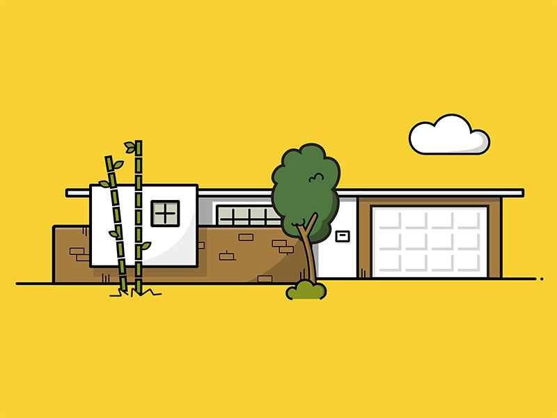 My Childhood Home — Home Series los angeles bamboo tree architecture home house icon vector illustration