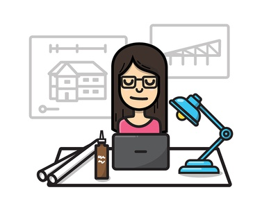 College — About Studio Sophy all nighter tacky glue drafting architecture school architecture lamp girl desk icon vector illustration