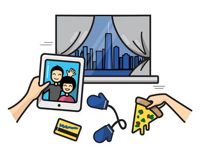 New York — About Studio Sophy facetime vignette ipad metro card pizza manhattan skyline window new york icon vector illustration