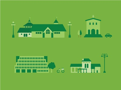 WIP — Attractions vignettes buildings illustration green wip