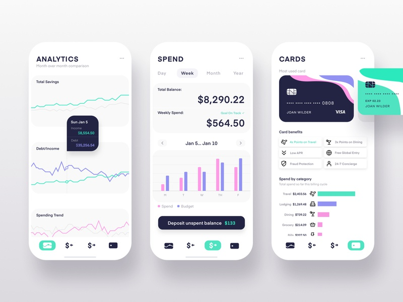 $pend cards spend metrics analytics ios mobile icons dashboard app ui
