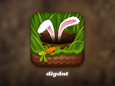 digdat app icon wangmander ears app icon dig carrot rabbit grass dirt ios app icon digdat