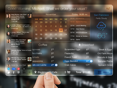 Glasspad Dashboard Concept wangmander future dashboard glass transparent ui ui ios 7 flat calender weather widget menu
