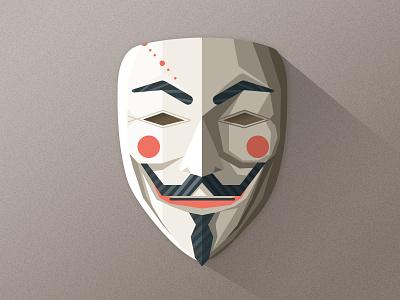 V anonymous wangmander v vendetta mask geometric illustration face