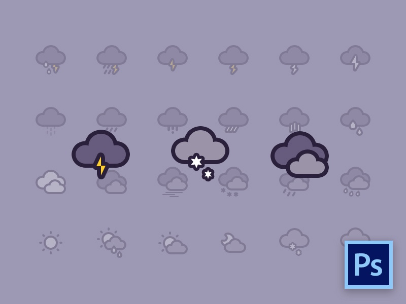 Weather Icons Freebie weather icons free psd thunder clouds sun rain storm