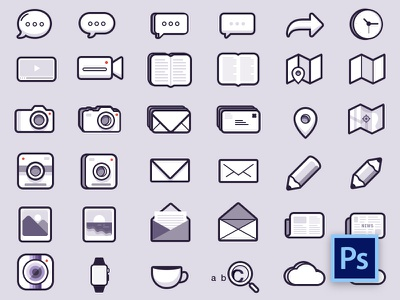 48 Icons Free PSD wangmander icons free psd chat photo book location pin picture mail news