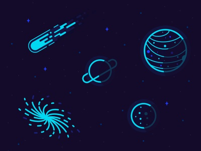 Space n Stuff cosmic wangmander asteroid comet black hole moon saturn planet teal space
