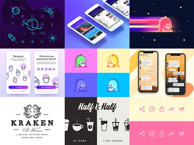 2017 Top 9 top 9 icons ui illustration mobile wangmander top flat compilation 2017 best of
