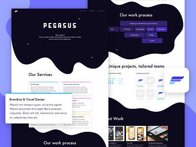 Pegasus Landing organic purple space website logo feathers brand wings mark pegasus