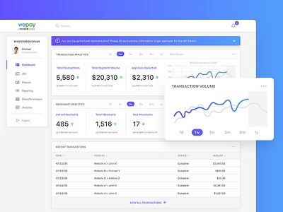 WePay Payments Dashboard minimal app ui clean graph data analytics wepay payments dashboard