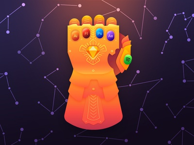 Designers Infinity Gauntlet adobe illustrator gold stars constellations gradients illustration powers marvel thanos glove infinity gauntlet