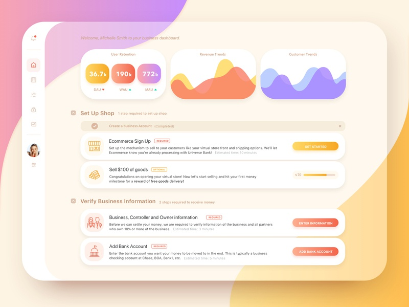 Business Dashboard rounded corner transparent gradents app dashboard