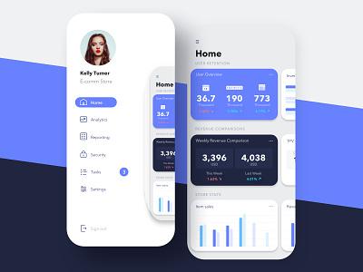 Mobile Analytics cards menu side menu analytics metrics dashboard ui app wangmander