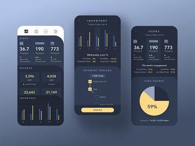 Arc Sales (dark mode) graphs darkmode dark ui mobile ios dashboard ui app wangmander