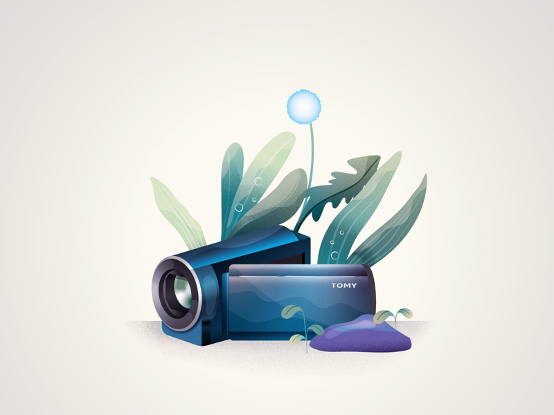 Wild caméscope retro vector illustration grass leaf natur camera illustrator