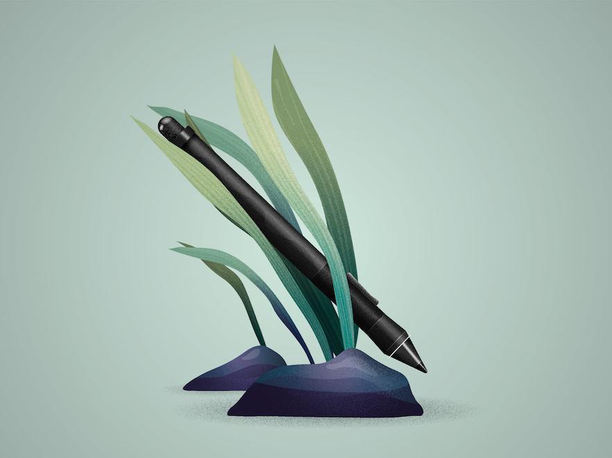 Wacom's pen natur artwork drawing draw artist leaf illustrator vectoriel vector wacom pen illustration