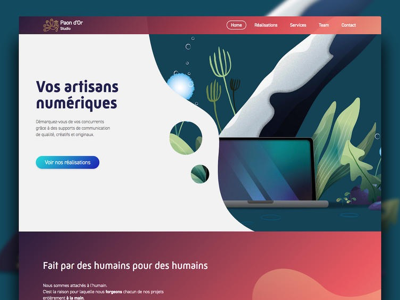 Ux design and illustration for Paon d'or Studio