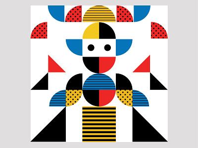Illustration solid shape elements geometric pattern design face combination color palette art illustration