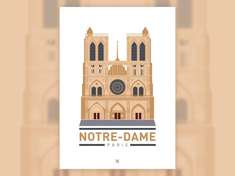 Notre Dame de Paris attraction outdoor religion gothic renaissance view scenic sightseeing tourism tourist travel urban design vector poster paris notre dame place landmark illustration