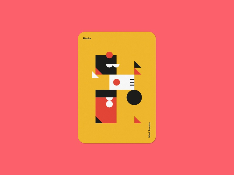 Mind Tourists Cards Blocks simple illustration typography design geometric bauhaus shape minimalistic minimalism minimal minal poster playing cards portfolio branding vector flat music