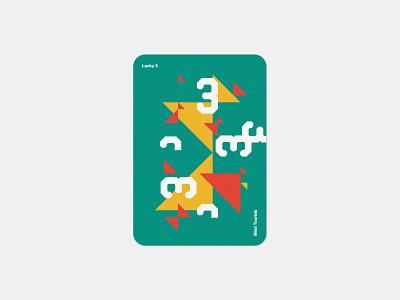 Mind Tourists Cards Lucky 3 simple illustration typography design geometric bauhaus shape minimalistic minimalism minimal minal poster playing cards portfolio branding vector flat music