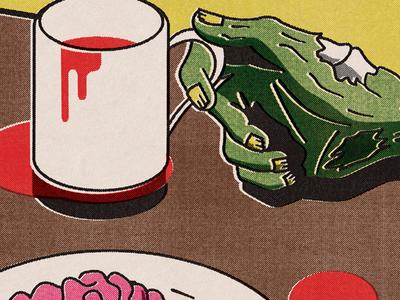 Coffee and Creativity zombie brains blood halloween
