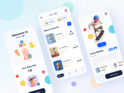 E-commerce Toys Products App ui kit product online shop doll toy design toy story baby trendy 2020 trends minimal ios app design android app design user experience dribbble ui app illustration app design app ui e commerce