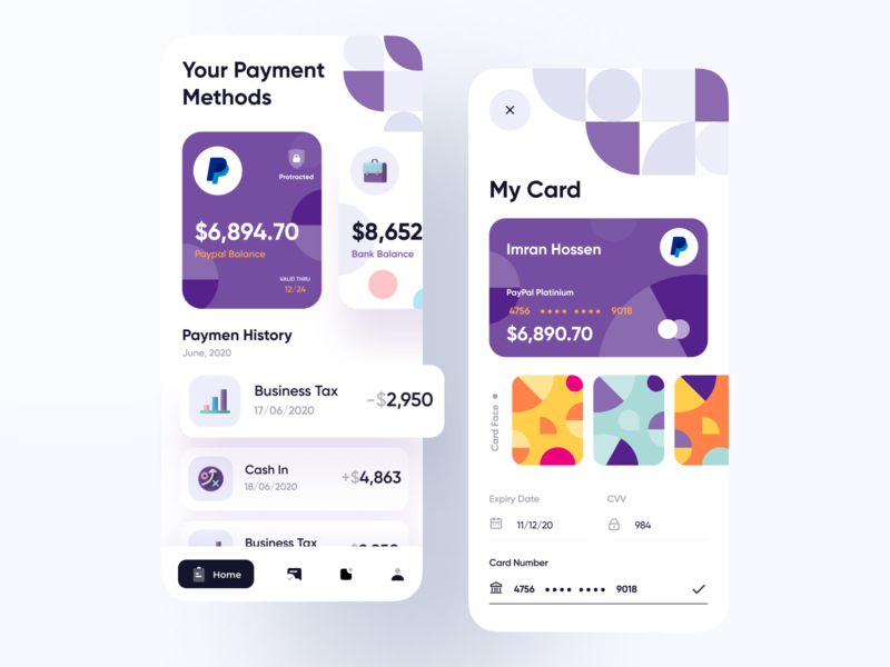 Finance App Visual Exploration app designer uiux ui design user interface minimal imran user experience app ui app design paypal payment app online banking finance clean ui credit card wallet app financial app finance app bankingapp bank
