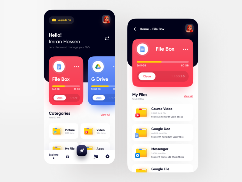 File Manager - Cloud Storage App uiux ui user experience dark app dark ui red popular minimal google drive dropbox file sharing freebie file explorer figma app design cloud storage file manager card branding app