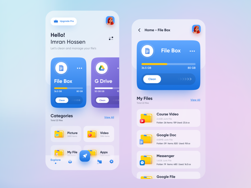 File Manager - Cloud Storage App popular trendy minimal user experience app design ui design imran branding card file explorer dropbox google drive cloud app file sharing file manager 2020 design design trends uidesign ui uiux