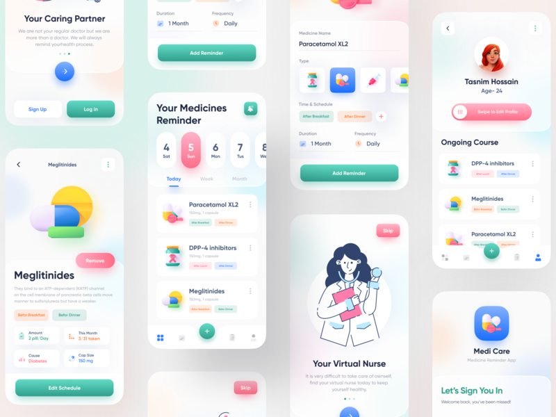 Medicine Reminder Mobile App popular design medical app health care medicine app medicine reminder app todo app doctor app ux ui uiux trendy imran ios app design minimal app ui user experience app design 2020 trends product design