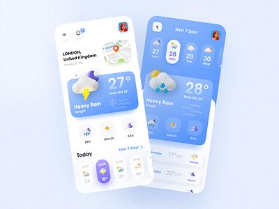 Mobile application - Weather App clean ui imran app ui user experience app design 3d 3d ui weather calendar app calender todo list todo app weather app rainy flat minimal design color clean app