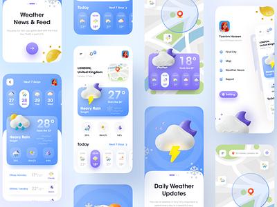 Weather App - Mobile application colorful android app design app designer ios app design minimal trendy ui event app todo app weather weather app user interface ui 3d 3d app user experience app design app ui ux app ui imran clean ui