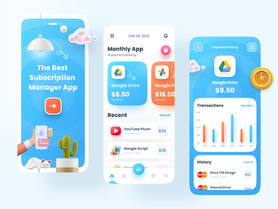 Subscription Management App zomo imran minimal user experience app ui app design wallet app chart statistics banking app banking account management app finance financial app mpv clean wallet subscription finance app