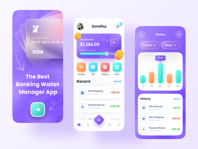Banking Mobile App colorful trendy money bank imran app ui minimal user experience app design ui mobile web finance finance app financial app banking app banking loan debit wallet