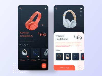 Headphones Product App   Ecommerce App Concept