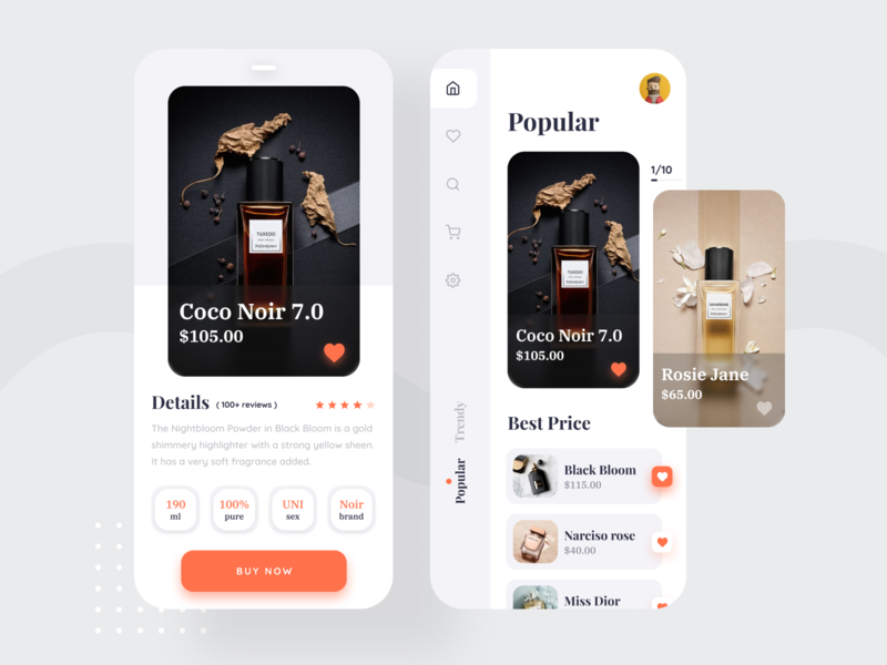 Perfume Products App UI user interface user experience design product ecommerce app product design uiux minimal ux ui user experience ios app design app design app ui light clean ui classic trendy 2019 trend